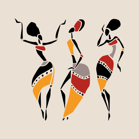Figures of african dancers. Dancing woman in ethnic style. Vector  Illustration. Vettoriali