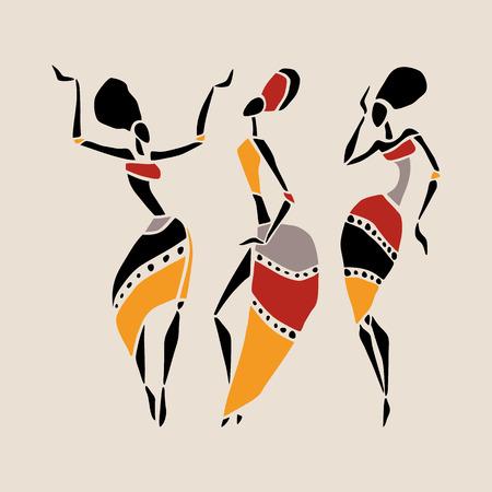 arte africano: Las figuras de bailarines africanos. Mujer del baile en estilo �tnico. Ilustraci�n del vector.