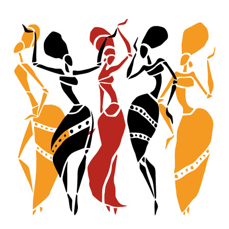 siluetas de mujeres: Las figuras de bailarines africanos. Mujer del baile en estilo étnico. Ilustración del vector.