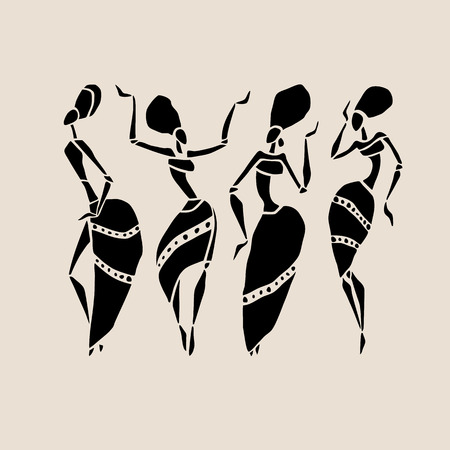 dancer: Figures of african dancers. Dancing woman in ethnic style. Vector  Illustration. Illustration