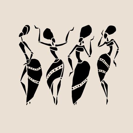 siluetas mujeres: Las figuras de bailarines africanos. Mujer del baile en estilo étnico. Ilustración del vector.