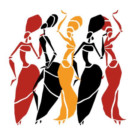 Las figuras de bailarines africanos. Mujer del baile en estilo étnico. Ilustración del vector.