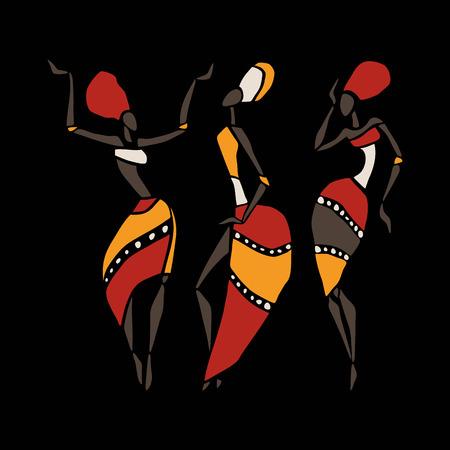 ilustraciones africanas: Las figuras de bailarines africanos. Mujer del baile en estilo étnico. Ilustración del vector.