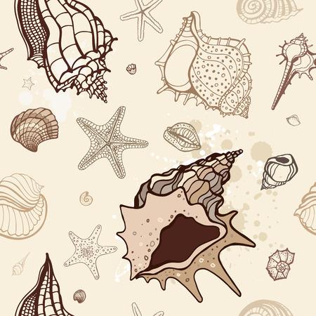 repetition: Grange Sea background. Hand drawn vector illustration