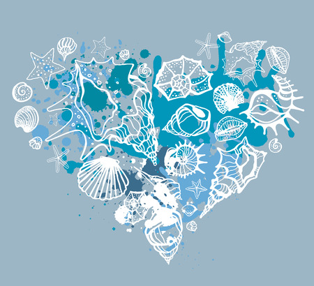 oceanic: Heart of shells. Hand drawn vector illustration Illustration