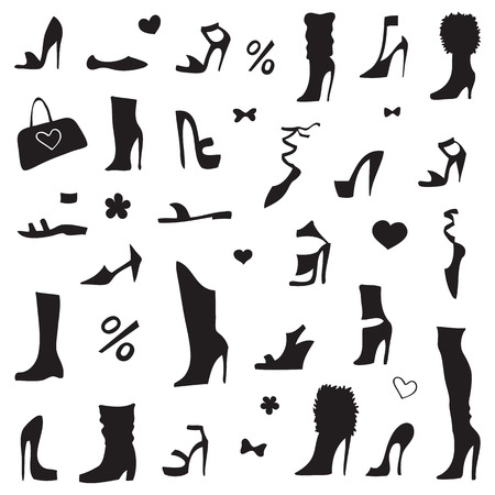 shoe: Collection of womens shoes. Design element Vector Illustration. Illustration
