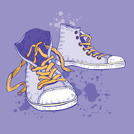 shoe strings: Sport shoes. Sneakers Hand drawn Vector illustration.