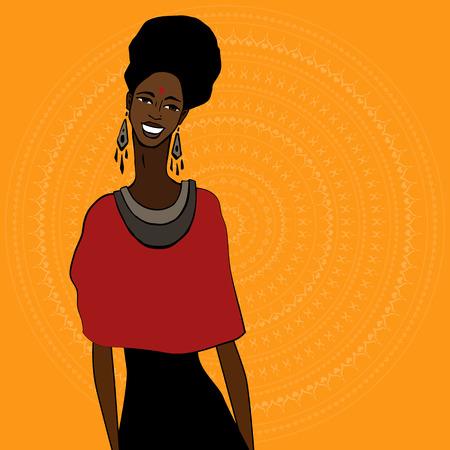 ilustraciones africanas: Perfil de la hermosa mujer africana. Dibujado a mano ilustraci�n �tnica. Vectores