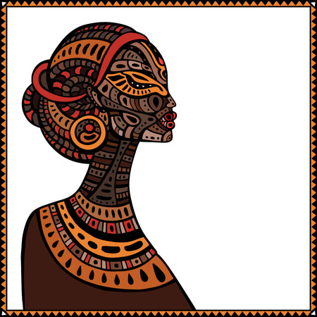Profile of beautiful African woman. Hand drawn ethnic illustration.  イラスト・ベクター素材
