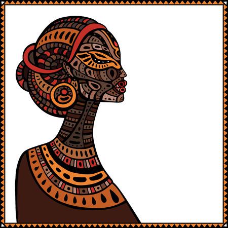 amarillo y negro: Perfil de la hermosa mujer africana. Dibujado a mano ilustraci�n �tnica. Vectores