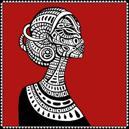 arte africano: Perfil de la hermosa mujer africana. Dibujado a mano ilustraci�n �tnica. Vectores