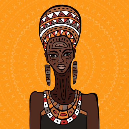 african woman hair: Portrait of African woman. Hand drawn ethnic illustration.