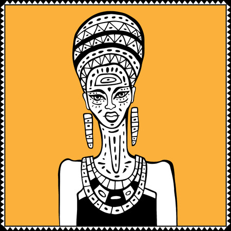 african american woman silhouette: Portrait of African woman. Hand drawn ethnic illustration.