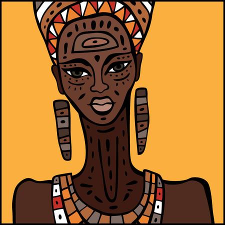plaits: Portrait of African woman. Hand drawn ethnic illustration.