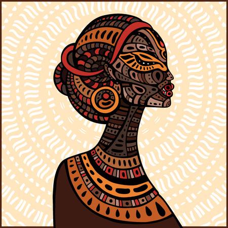 siluetas mujeres: Perfil de la hermosa mujer africana. Dibujado a mano ilustraci�n �tnica. Vectores