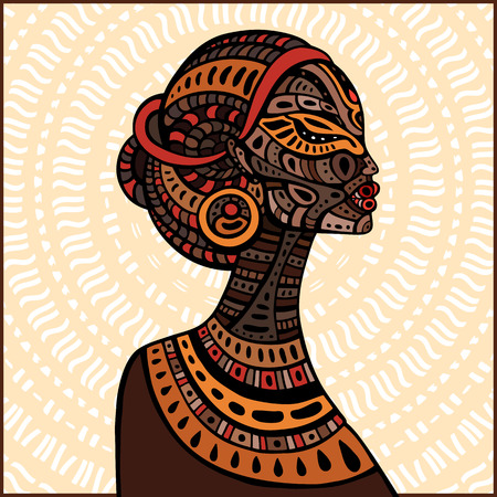 african american woman silhouette: Profile of beautiful African woman. Hand drawn ethnic illustration. Illustration