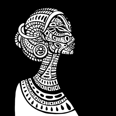 negras africanas: Perfil de la hermosa mujer africana. Dibujado a mano ilustración étnica. Vectores