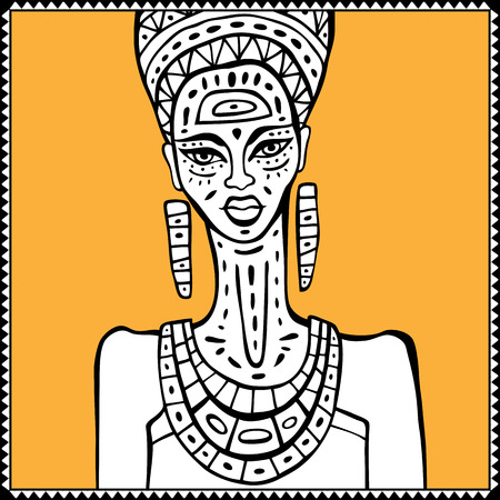 african woman: Portrait of African woman. Hand drawn ethnic illustration.