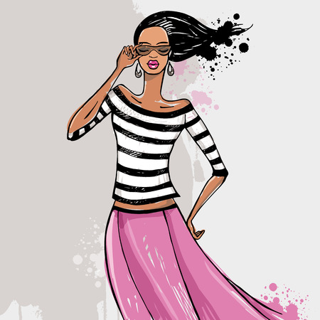 mannequin mode: Belle femme. Fashion model Sketch Vector illustration.