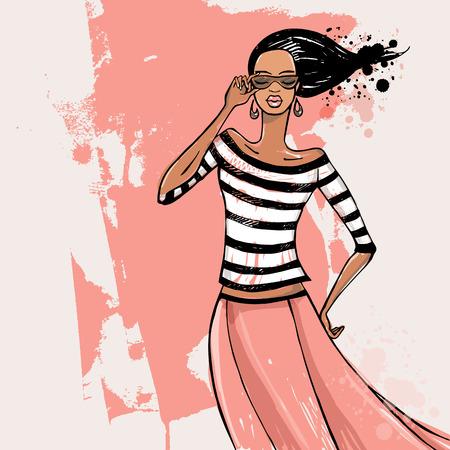 sueter: Hermosa mujer. Modelo de moda ilustración vectorial Sketch. Vectores