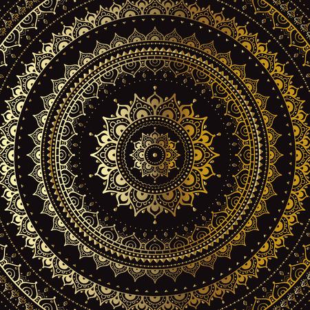 Gold mandala on black background. Indian pattern.