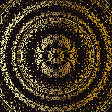 oriente: Mandala de oro sobre fondo negro. Modelo indio. Vectores