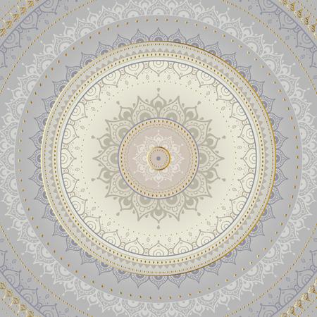 unique: Silver mandala on black background. Indian pattern.