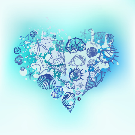blue sea: Heart of Sea shells. Seashells Hand drawn vector illustration