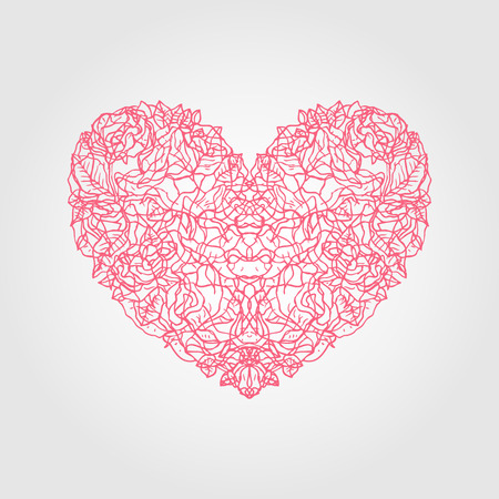 saint valentin coeur: Heart of roses. Valentine Greeting card. Hand drawn vector illustration.