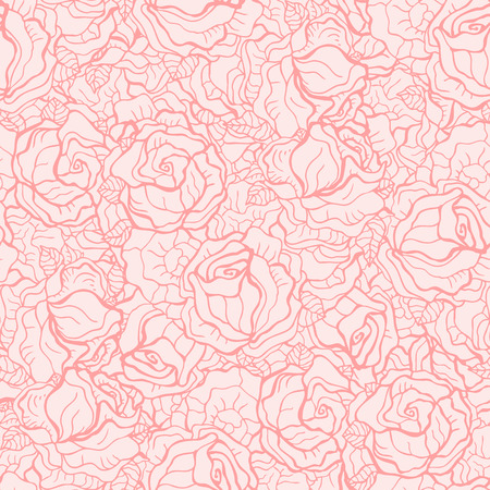 flower pattern: Roses Pattern. Hand drawn Seamless flowers background, vintage style