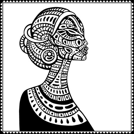 dessin noir et blanc: Profil de la belle femme africaine. Hand drawn illustration ethnique.
