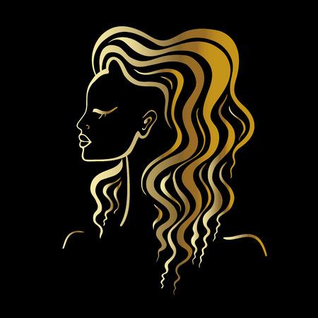 golden hair: Beautiful Woman Portrait. Hand drawn fashion illustration.