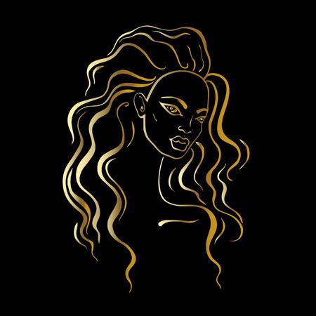 Beautiful Woman Portrait. Hand drawn fashion illustration.
