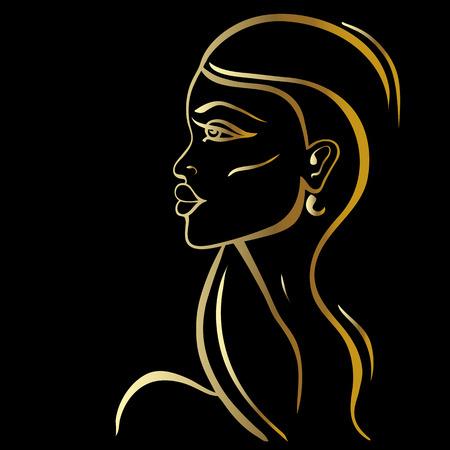 dessin noir et blanc: Belle femme Portrait. Hand drawn illustration de mode. Illustration