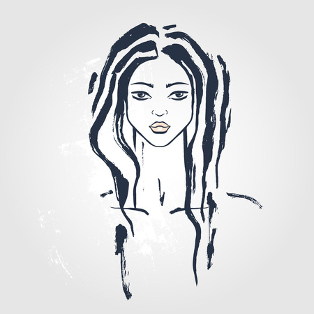 dreadlock: Beautiful Woman Portrait. Hand drawn fashion illustration.
