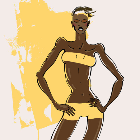 portret vrouw: Fitness Woman Portrait.  woman silhouette Hand drawn fashion illustration.