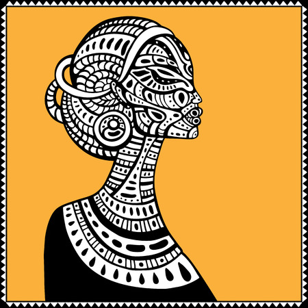 african woman: Profile of beautiful African woman. Hand drawn ethnic illustration. Illustration