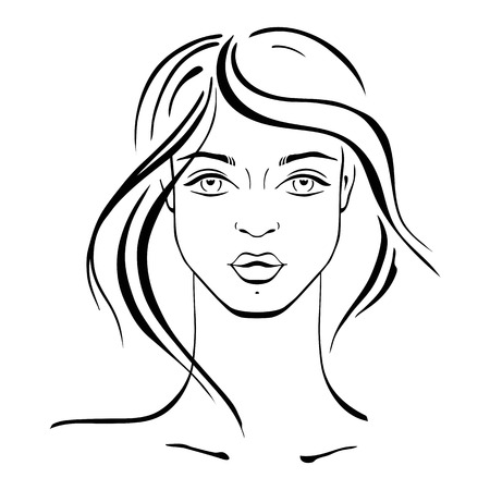 face female: Beautiful Woman Portrait. Hand drawn fashion illustration.