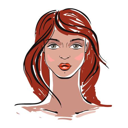 red hair: Beautiful Woman Portrait. Hand drawn fashion illustration.