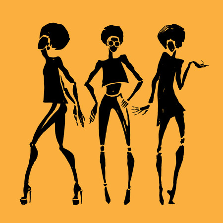 african fashion: Figures of african dancers. fashion illustration