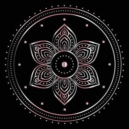Gold mandala on black background. Ethnic vintage pattern. Ilustração
