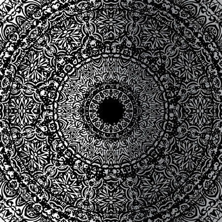 tantra: Silver mandala on black background. Ethnic vintage pattern.