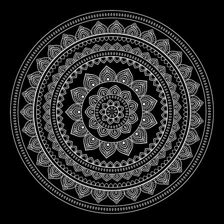 indian light: Silver mandala on black background. Indian pattern.