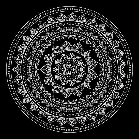 lotus pattern: Silver mandala on black background. Indian pattern.