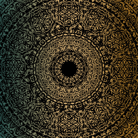 Gold mandala on black background. Ethnic vintage pattern. Vettoriali