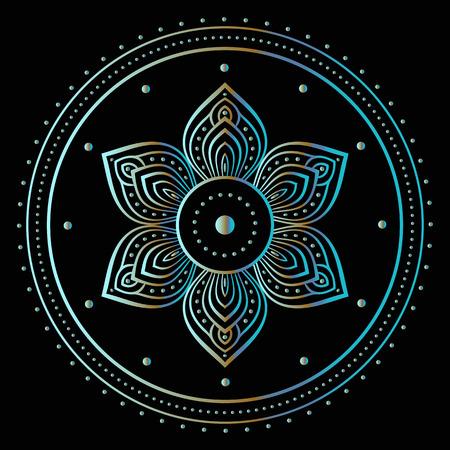 Silver mandala on black background. Indian pattern.