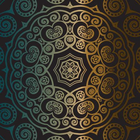 gold silver: Gold mandala on black background. Ethnic vintage pattern. Illustration