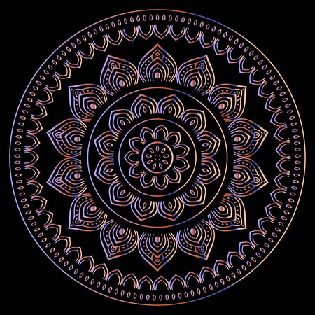 pattern vintage: Gold mandala on black background. Ethnic vintage pattern. Illustration