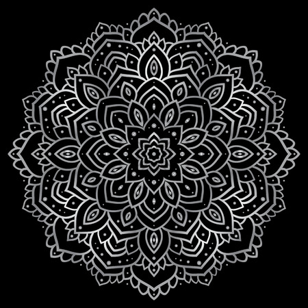 silver texture: Silver mandala on black background. Indian pattern.