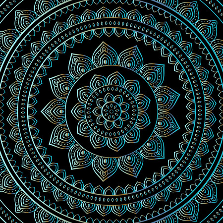 indian traditional: Silver mandala on black background. Indian pattern.